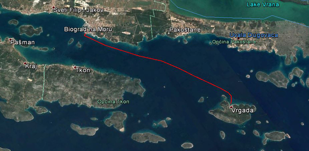 The route Biograd Vrgada ship line